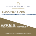 aviso 216/19 ACUERDOS TRIBUNAL MERCANTIL DE BARCELONA